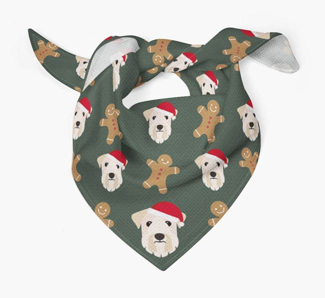 Gingerbread Pattern Christmas Bandana for your Sealyham Terrier