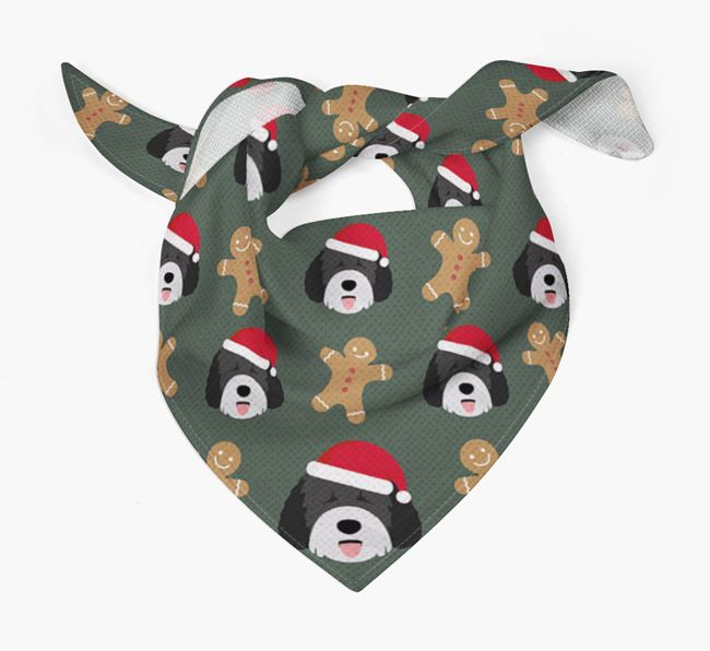 Gingerbread Pattern Christmas Bandana for your Spanish Water Dog