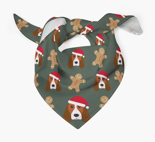 Gingerbread Pattern Christmas Bandana for your Springer Spaniel