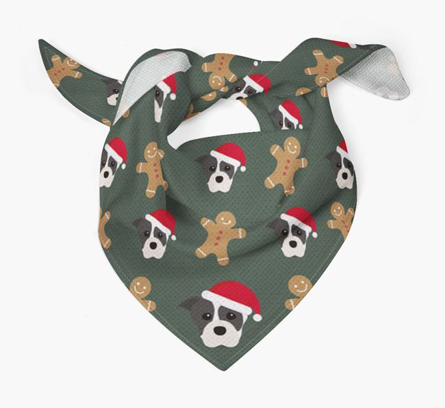 Gingerbread Pattern Christmas Bandana for your Staffordshire Bull Terrier