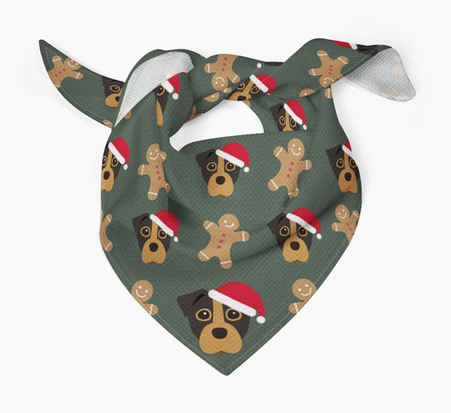 Gingerbread Pattern Christmas Bandana for your Staffy Jack