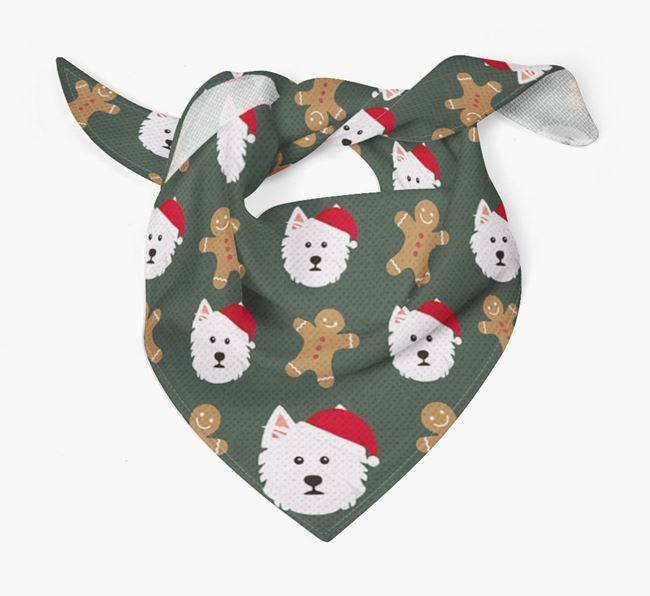Gingerbread Pattern Christmas Bandana for your West Highland White Terrier