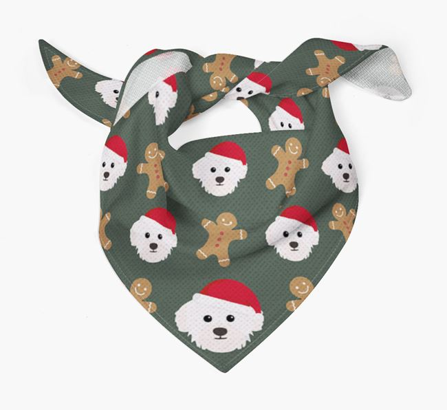 Gingerbread Pattern Christmas Bandana for your Westiepoo