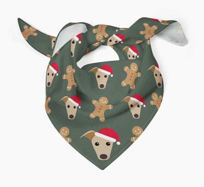 Gingerbread Pattern Christmas Bandana for your Whippet
