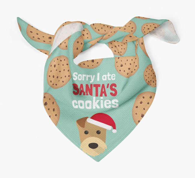 'I ate Santa's Cookies' Christmas Bandana with Airedale Terrier Icon
