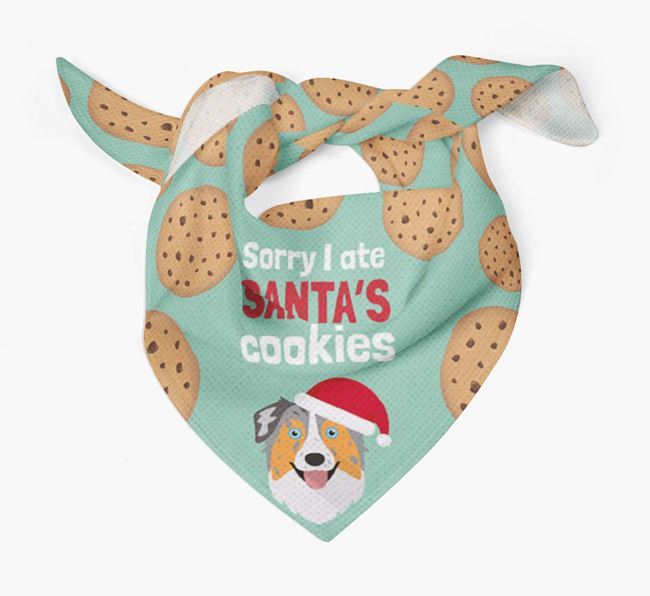 'I ate Santa's Cookies' Christmas Bandana with Australian Shepherd Icon