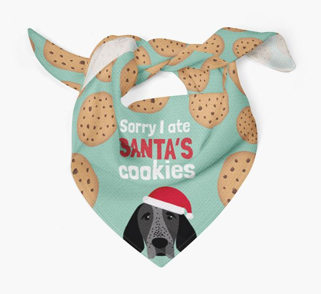 'I ate Santa's Cookies' Christmas Bandana with Braque D'Auvergne Icon