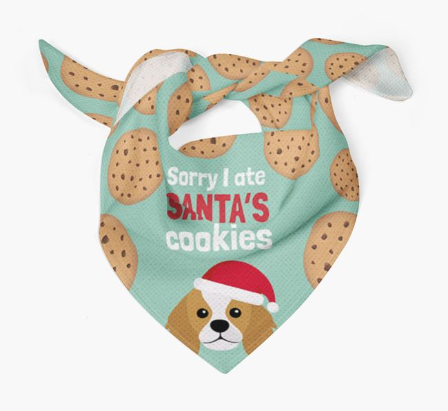 'I ate Santa's Cookies' Christmas Bandana with King Charles Spaniel Icon