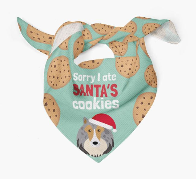 'I ate Santa's Cookies' Christmas Bandana with Rough Collie Icon