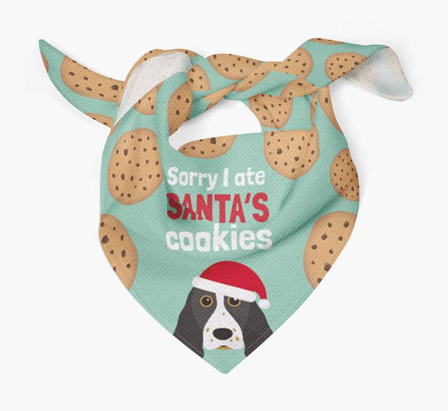 'I ate Santa's Cookies' Christmas Bandana with Springer Spaniel Icon