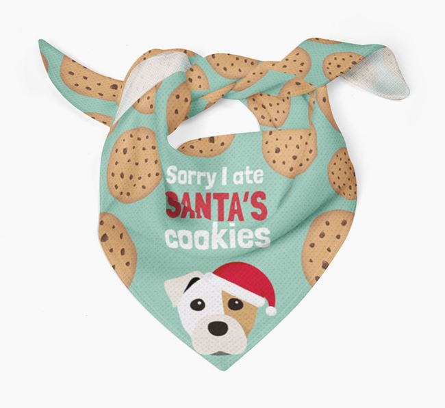 'I ate Santa's Cookies' Christmas Bandana with Staffy Jack Icon