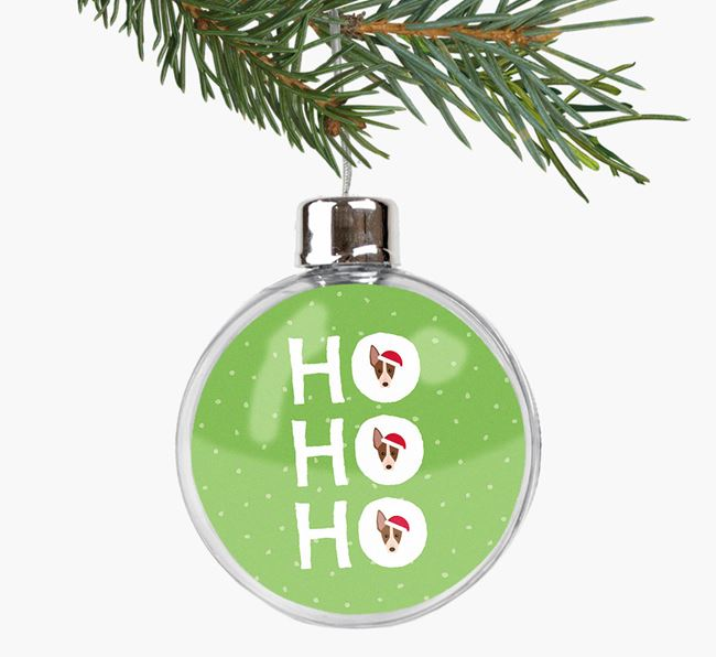 Fillable Bauble 'Ho Ho Ho' with your American Hairless Terrier Christmas Icon