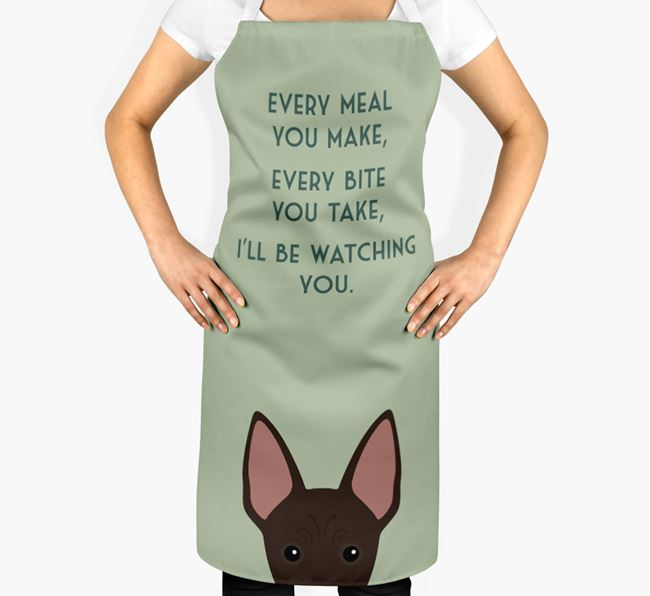 American Hairless Terrier Apron - I'll be watching you