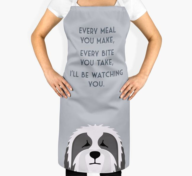 Bearded Collie Apron - I'll be watching you