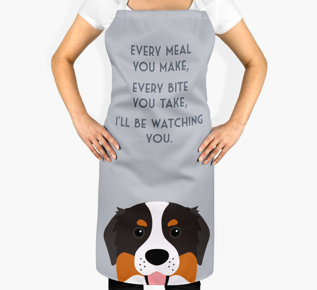 I Ll Be Watching You Personalized Bernese Mountain Dog Apron Yappy Com
