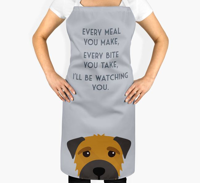 Border Terrier Apron - I'll be watching you
