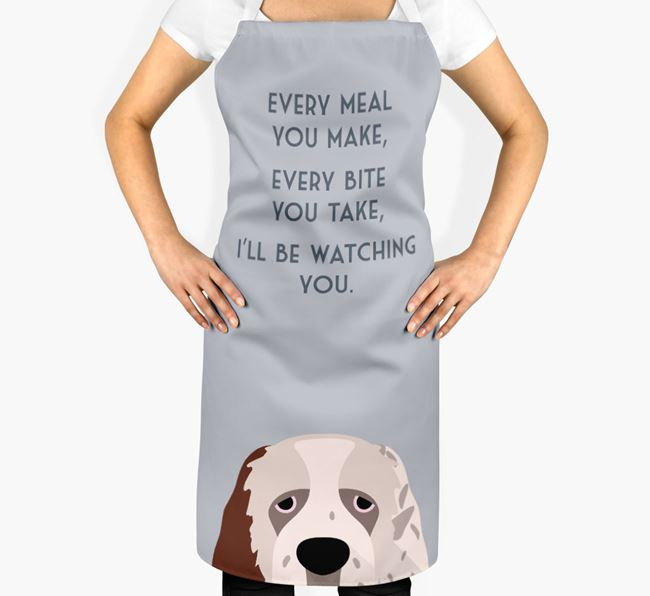 Clumber Spaniel Apron - I'll be watching you