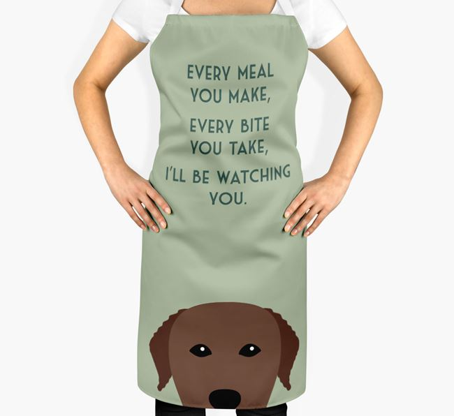 Curly Coated Retriever Apron - I'll be watching you