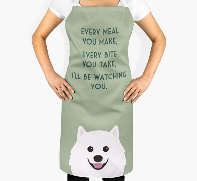 Japanese Spitz Apron - I'll be watching you