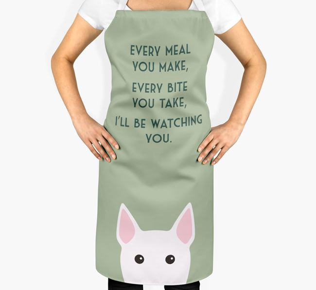 Miniature Bull Terrier Apron - I'll be watching you