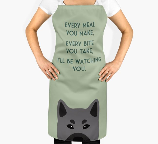 Norwegian Elkhound Apron - I'll be watching you