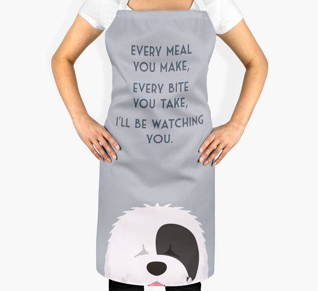 Old English Sheepdog Apron - I'll be watching you