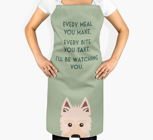 Picardy Sheepdog Apron - I'll be watching you