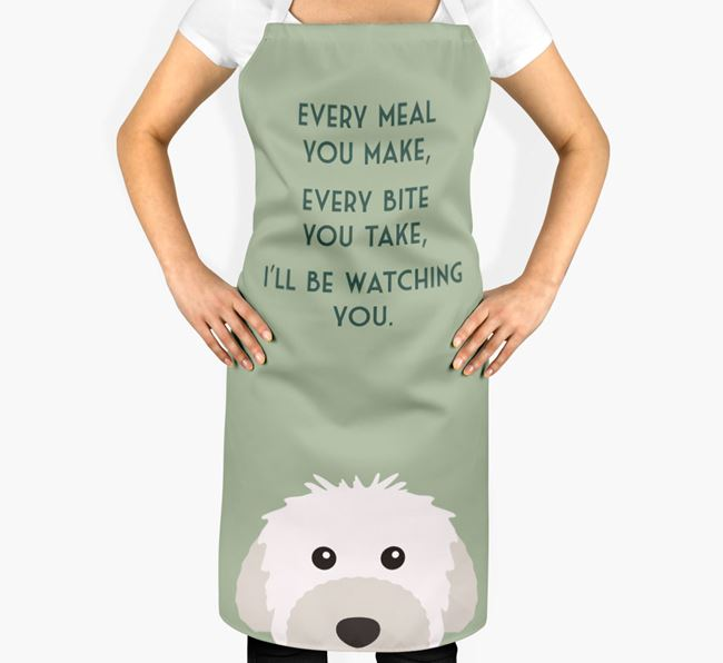 Powderpuff Chinese Crested Apron - I'll be watching you
