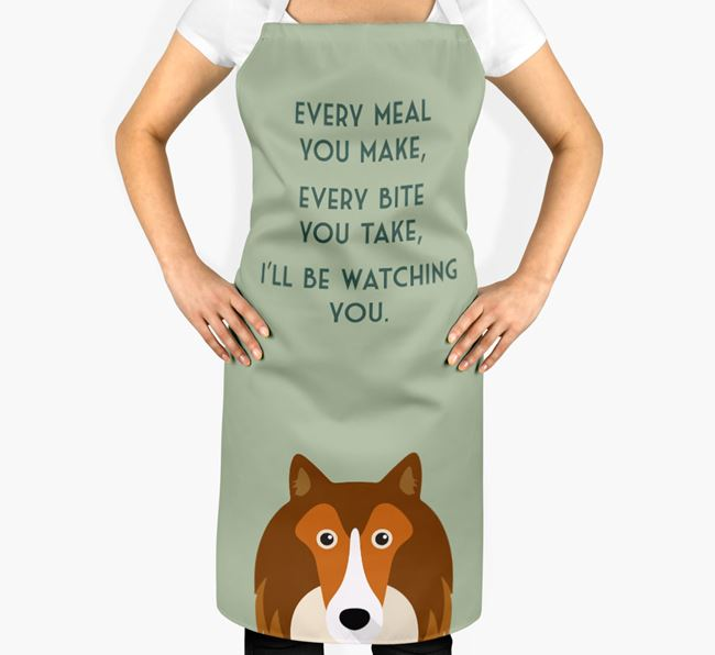 Rough Collie Apron - I'll be watching you