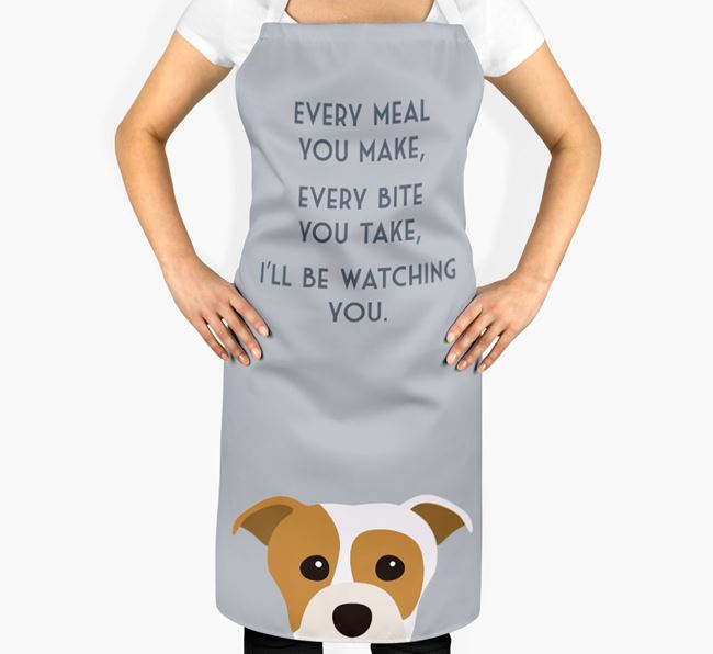Staffordshire Bull Terrier Apron - I'll be watching you