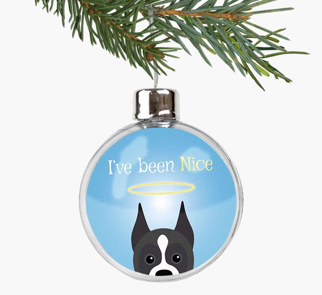 'I've been Nice' Fillable Bauble with your Boxer Icon
