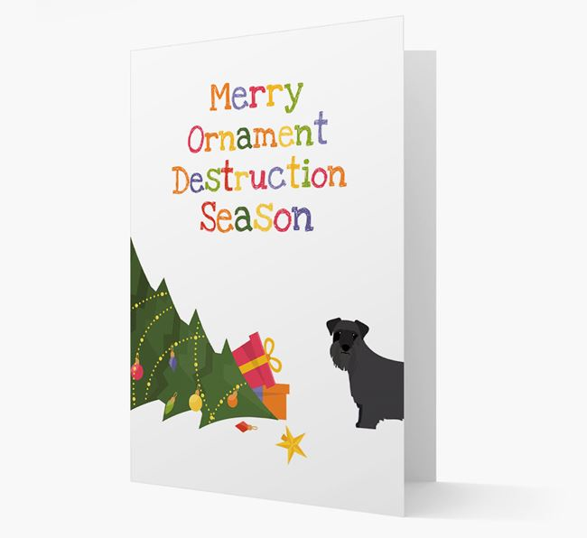 'Merry Ornament Destruction Season' Christmas Card with Cesky Terrier Icon