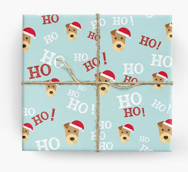 'Ho! Ho! Ho!' Wrapping Paper with your Airedale Terrier Icon