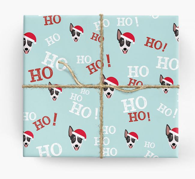 'Ho! Ho! Ho!' Wrapping Paper with your Australian Working Kelpie Icon