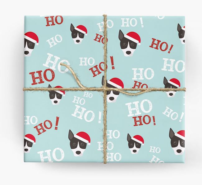'Ho! Ho! Ho!' Wrapping Paper with your Basenji Icon