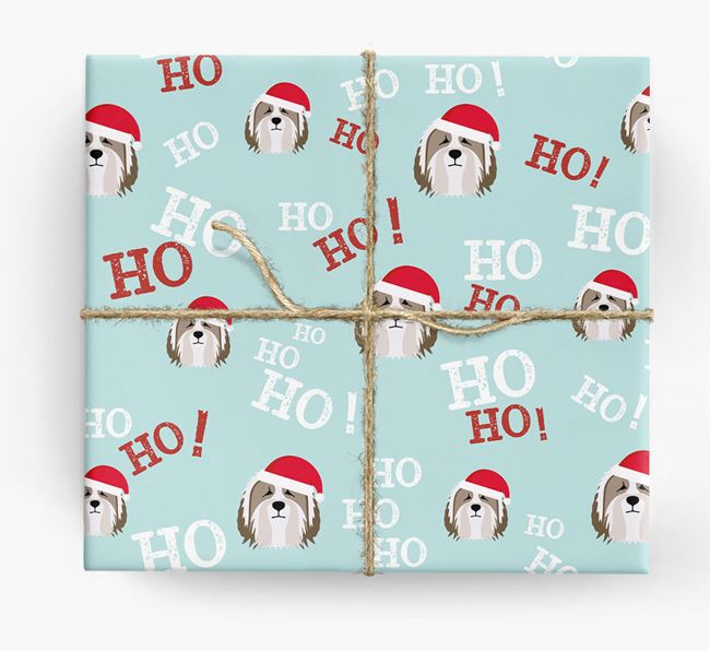 'Ho! Ho! Ho!' Wrapping Paper with your Bearded Collie Icon