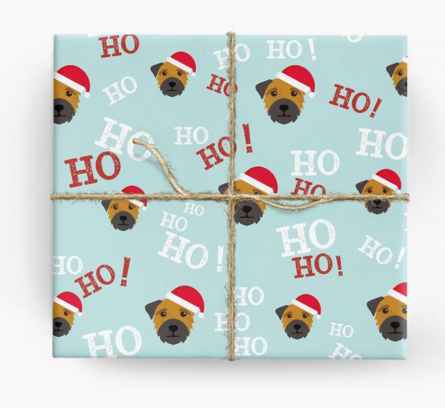 'Ho! Ho! Ho!' Wrapping Paper with your Border Terrier Icon