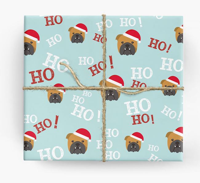 'Ho! Ho! Ho!' Wrapping Paper with your English Bulldog Icon
