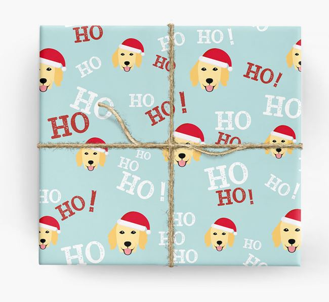 'Ho! Ho! Ho!' Wrapping Paper with your Flat-Coated Retriever Icon