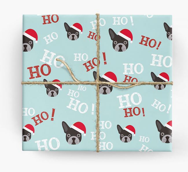 'Ho! Ho! Ho!' Wrapping Paper with your French Bulldog Icon