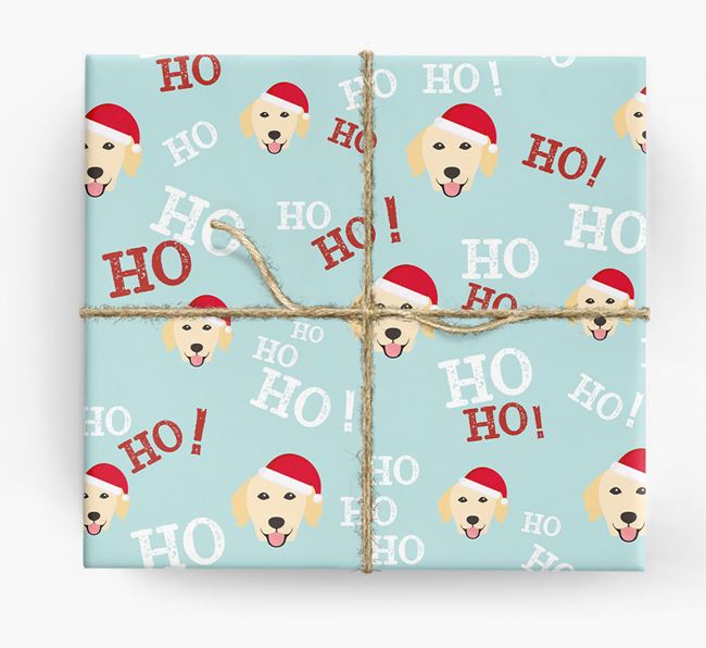 'Ho! Ho! Ho!' Wrapping Paper with your Golden Retriever Icon