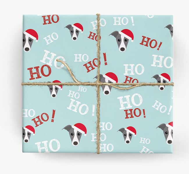 'Ho! Ho! Ho!' Wrapping Paper with your Greyhound Icon