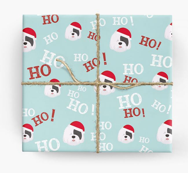 'Ho! Ho! Ho!' Wrapping Paper with your Old English Sheepdog Icon