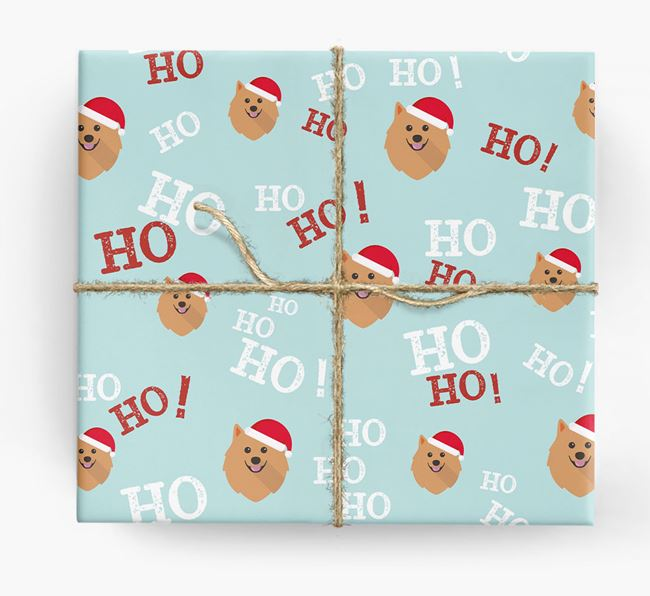 'Ho! Ho! Ho!' Wrapping Paper with your Pomeranian Icon