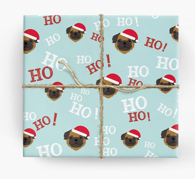 'Ho! Ho! Ho!' Wrapping Paper with your Pug Icon