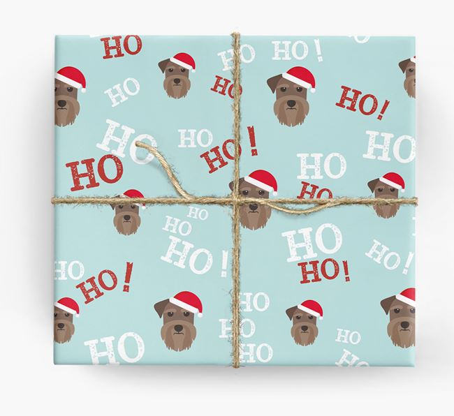 'Ho! Ho! Ho!' Wrapping Paper with your Schnauzer Icon