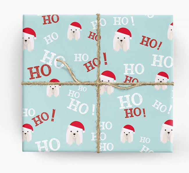 'Ho! Ho! Ho!' Wrapping Paper with your Shih Tzu Icon