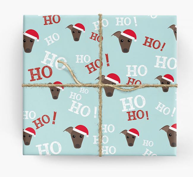 'Ho! Ho! Ho!' Wrapping Paper with your Whippet Icon