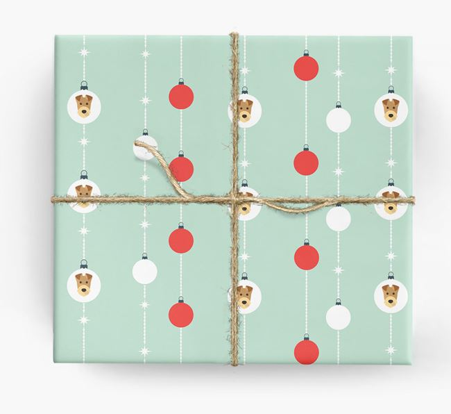 'Baubles' Wrapping Paper with your Airedale Terrier Icon