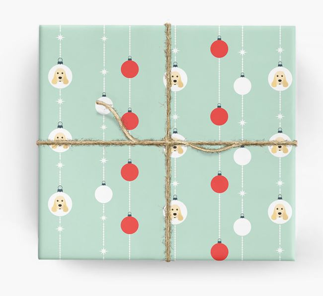 'Baubles' Wrapping Paper with your American Cocker Spaniel Icon